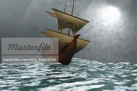 A sailing vessel navigates the ocean waves in stormy weather. Stock Photo - Budget Royalty-Free, Image code: 400-04624758