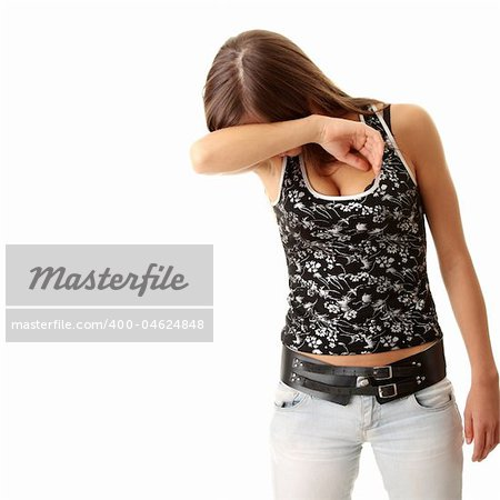 Teen girl frighten, covering her face - abuse crime concept Stock Photo - Budget Royalty-Free, Image code: 400-04624848