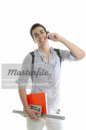 Handsome student talking mobile cell phone isolated on white Stock Photo - Budget Royalty-Free, Image code: 400-04627014