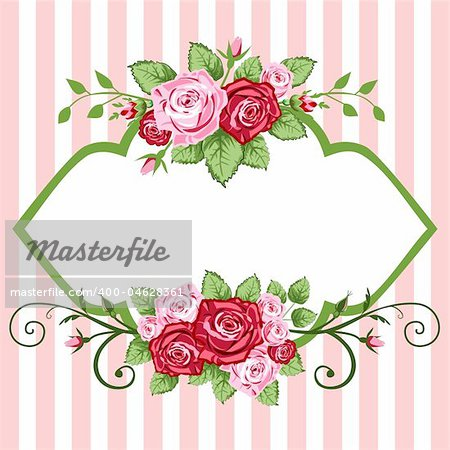 Victorian roses frame for greetings cards or backgrounds.