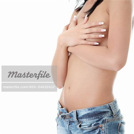 The image of the beautiful brunette in jeans topless isolated Stock Photo - Budget Royalty-Free, Image code: 400-04630612