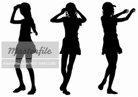 Vector image of young girls. Silhouette on white background