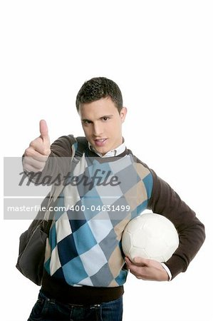 Happy young boy student with football ball isolated on white Stock Photo - Budget Royalty-Free, Image code: 400-04631499