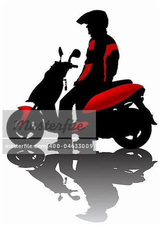 Vector drawing motorcyclist. Silhouette on white background Stock Photo - Budget Royalty-Free, Image code: 400-04633009