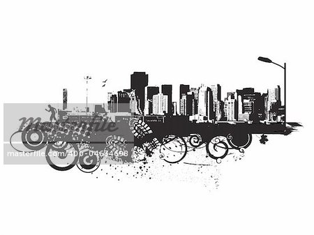 abstract urban grunge city background,vector illustration