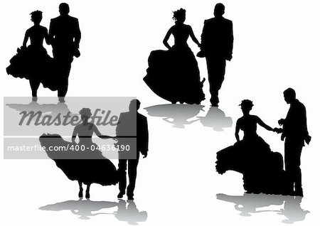 Vector drawing bride and groom. Silhouettes on white background