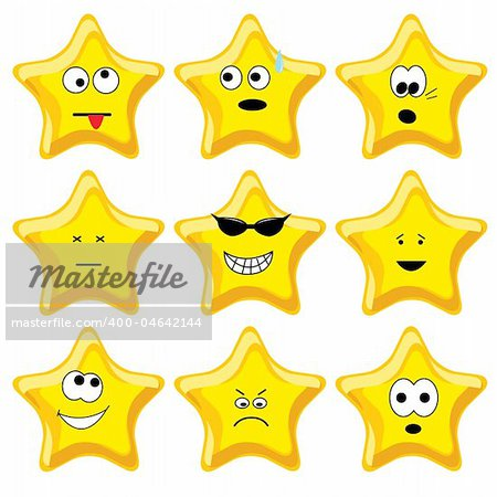 Set of nine cartoon gold stars. Vector illustration. Stock Photo - Budget Royalty-Free, Image code: 400-04642144