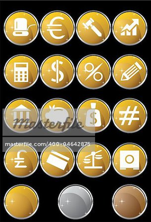Collection of sixteen banking themed buttons.