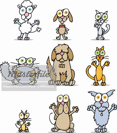 Set of 9 wacky cartoon cats and dogs. Stock Photo - Budget Royalty-Free, Image code: 400-04645615