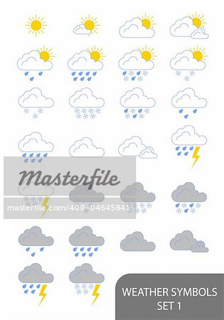 Set of weather symbols. Available in jpeg and eps8 formats.