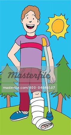 Cartoon image of kid/man with broken leg.