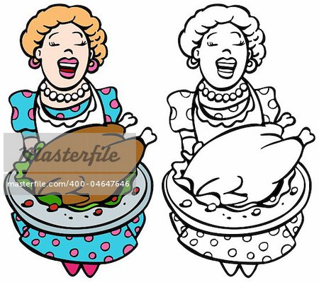 Mom serving turkey isolated on a white background - both color and black / white versions. Stock Photo - Budget Royalty-Free, Image code: 400-04647646