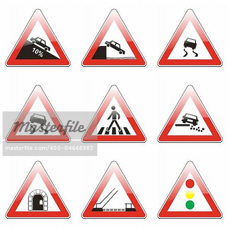 three hundred fully editable vector european traffic signs with details ready to use Stock Photo - Budget Royalty-Free, Image code: 400-04648983