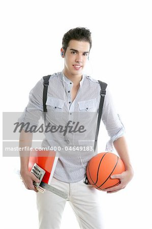 American look student boy with basket ball and notebook isolated on white Stock Photo - Budget Royalty-Free, Image code: 400-04649183