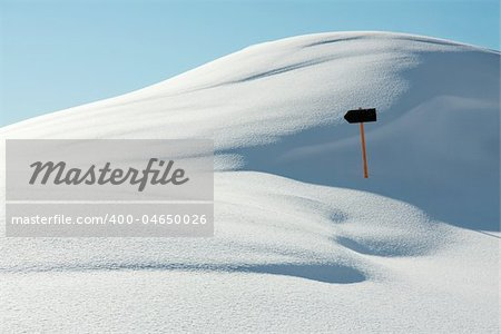 White, snowy landscape with a direction sign Stock Photo - Budget Royalty-Free, Image code: 400-04650026