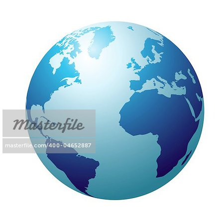 Blue circular globe showing north america and europe Stock Photo - Budget Royalty-Free, Image code: 400-04652887