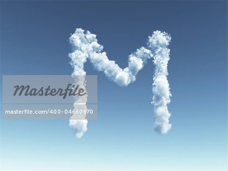 clouds forms the uppercase letter M in the sky - 3d illustration Stock Photo - Budget Royalty-Free, Image code: 400-04660670