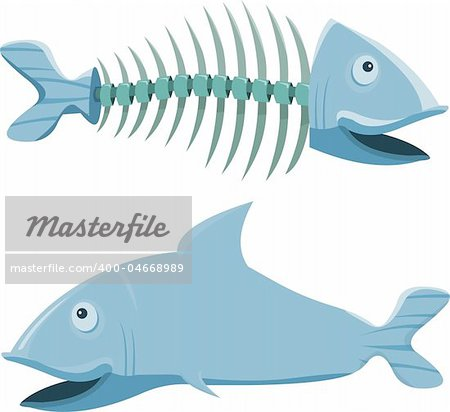 Fish with his fishbone, on white background Stock Photo - Budget Royalty-Free, Image code: 400-04668989