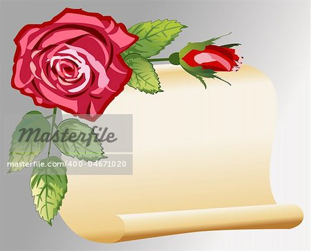 Vector parchment with roses, love message, retro style, full scalable vector graphic and 300 dpi JPG