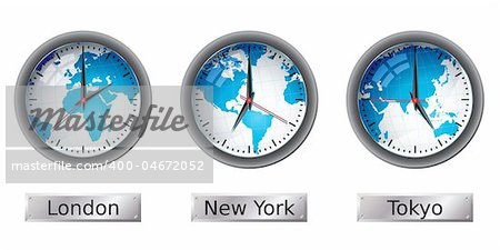 World map time zone clocks.  Please check my portfolio for more map illustrations. Stock Photo - Budget Royalty-Free, Image code: 400-04672052