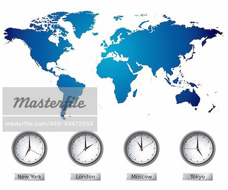 World Map with time zones. Please check my portfolio for more map illustrations. Stock Photo - Budget Royalty-Free, Image code: 400-04672053