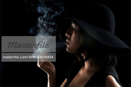 Asian girl puffs on her cigarette in the dark Stock Photo - Budget Royalty-Free, Image code: 400-04676834
