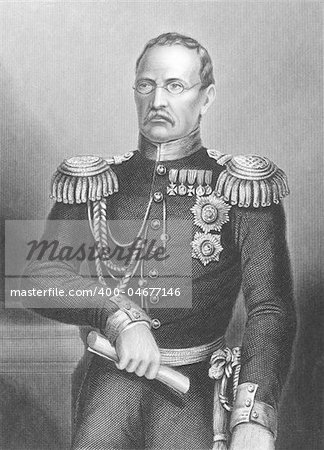 Prince Mikhail Dmitrievich (1795-1861) on engraving from the 1800s. Russian General of Artillery. Drawn and engraved by D.J.Pound and published byt the London Printing & Publishing Company. Stock Photo - Budget Royalty-Free, Image code: 400-04677146