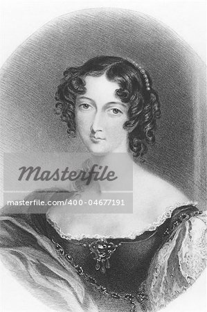 Sarah Villiers, Countess of Jersey (1785-1867) on engraving from the 1800s. English noblewoman. Engraved by H.T.Ryall after a drawing by E.T.Parris and published in London by A.Fullarton & Co. Stock Photo - Budget Royalty-Free, Image code: 400-04677191