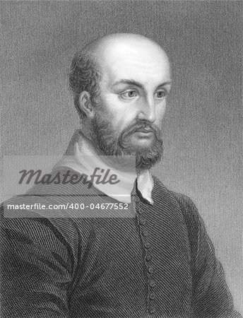 Andrea Palladio (1508-1580) on engraving from the 1800s. Italian Renaissance architect. Engraved by R.Woodman from a picture by Bigleoschi and published in London by Charles Knight, Ludgate Street. Stock Photo - Budget Royalty-Free, Image code: 400-04677552