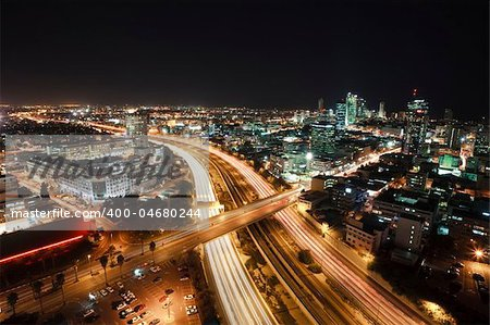 The night Tel Aviv city - View of Tel Aviv at night. Stock Photo - Budget Royalty-Free, Image code: 400-04680244