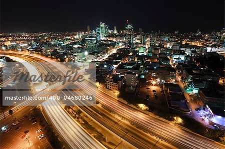 The night Tel Aviv city - View of Tel Aviv at night. Stock Photo - Budget Royalty-Free, Image code: 400-04680246