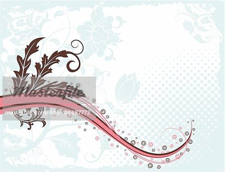 Grunge paint flower background with wave pattern, element for design, vector illustration