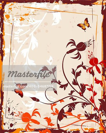 Grunge paint flower background, element for design, vector illustration