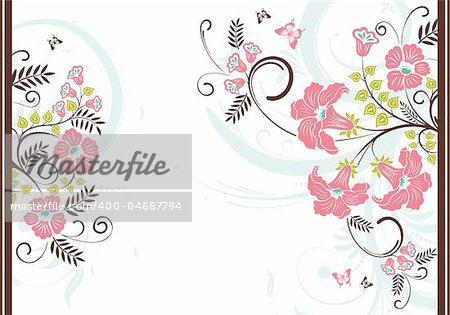 Floral frame with butterfly, element for design, vector illustration