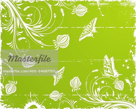 Grunge paint floral frame with butterfly, element for design, vector illustration
