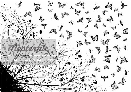Grunge floral background with plenty of butterfly and dragonfly, element for design, vector illustration