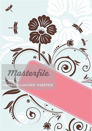Floral frame with dragonfly, element for design, vector illustration