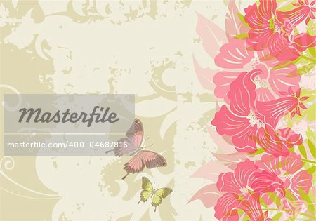 Grunge floral background with butterfly (no transparency), element for design, vector illustration
