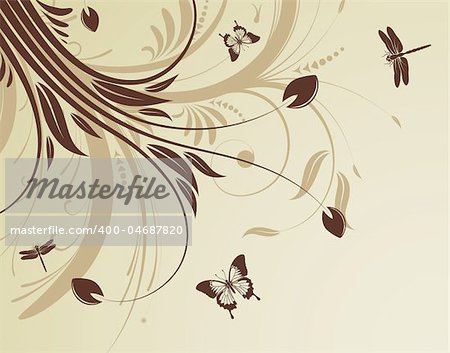 Floral background with butterfly and dragonfly pattern, element for design, vector illustration