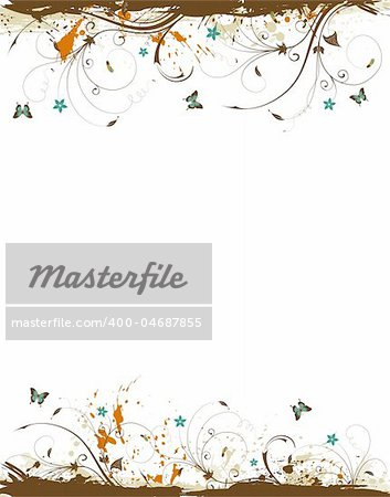 Grunge paint flower frame, element for design, vector illustration