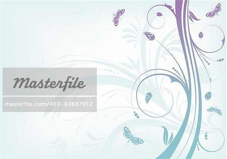 Flower background with butterfly and wave pattern, element for design, vector illustration