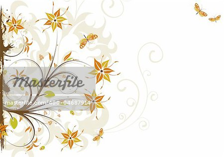 Abstract grunge floral frame with butterfly, element for design, vector illustration
