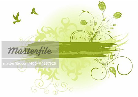 Grunge paint flower background with bird, element for design, vector illustration