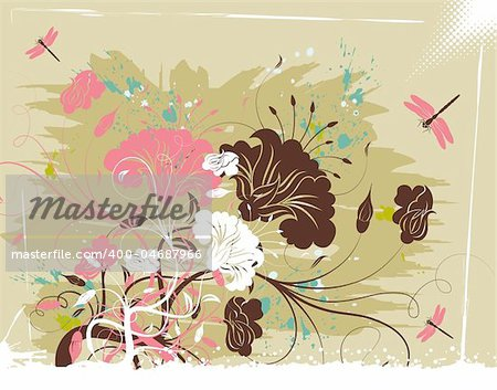 Grunge paint flower background with dragonfly, element for design, vector illustration