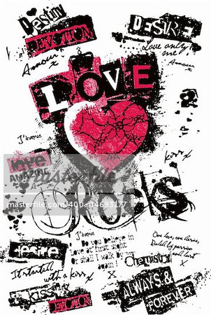 love poster in newspaper style Stock Photo - Budget Royalty-Free, Image code: 400-04693177