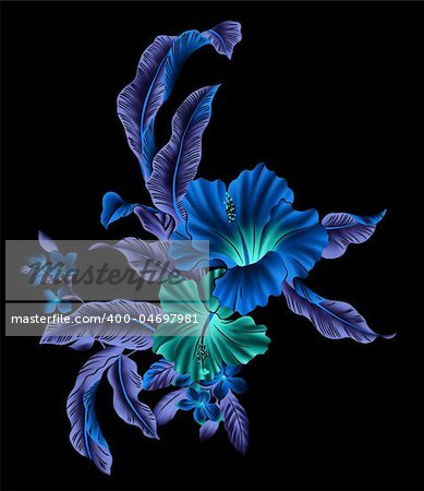 blue flower with lighting in a black background