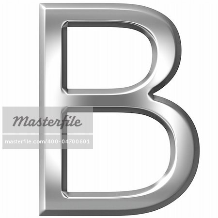 3d silver letter B isolated in white Stock Photo - Budget Royalty-Free, Image code: 400-04700601