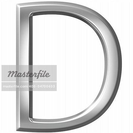 3d silver letter D isolated in white Stock Photo - Budget Royalty-Free, Image code: 400-04700603