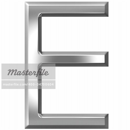 3d silver letter E isolated in white Stock Photo - Budget Royalty-Free, Image code: 400-04700604