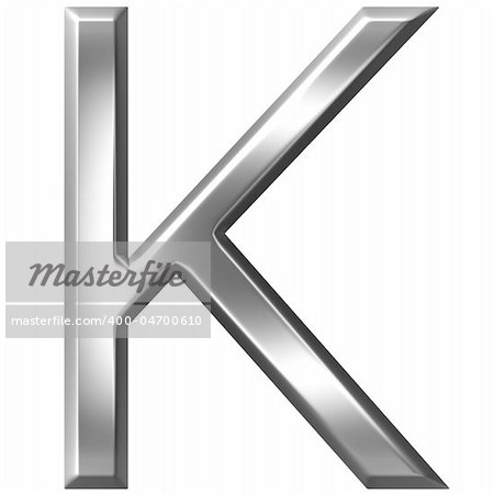3d silver letter K isolated in white Stock Photo - Budget Royalty-Free, Image code: 400-04700610